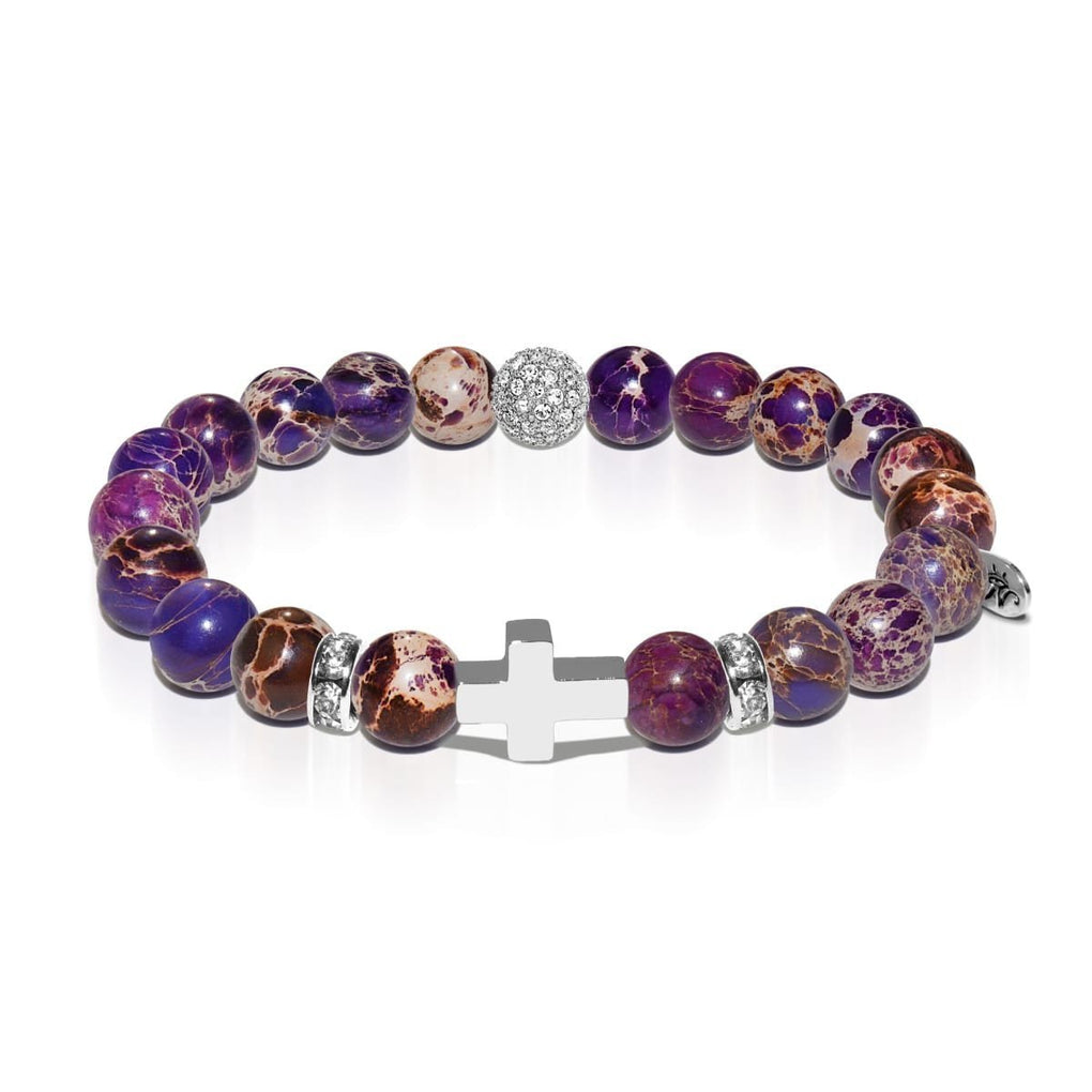 St. George | White Gold Cross | Purple Regalite Bracelet