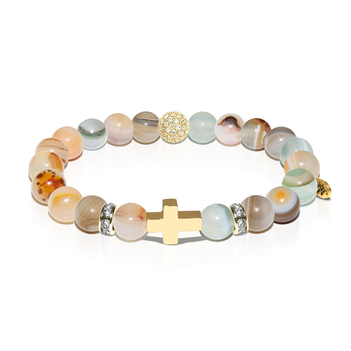 St. Elizabeth of Hungary | Gold Cross | Brown Striped Agate Bracelet