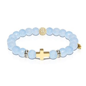 St. Nicholas | Gold Cross | Blue Jade Bracelet