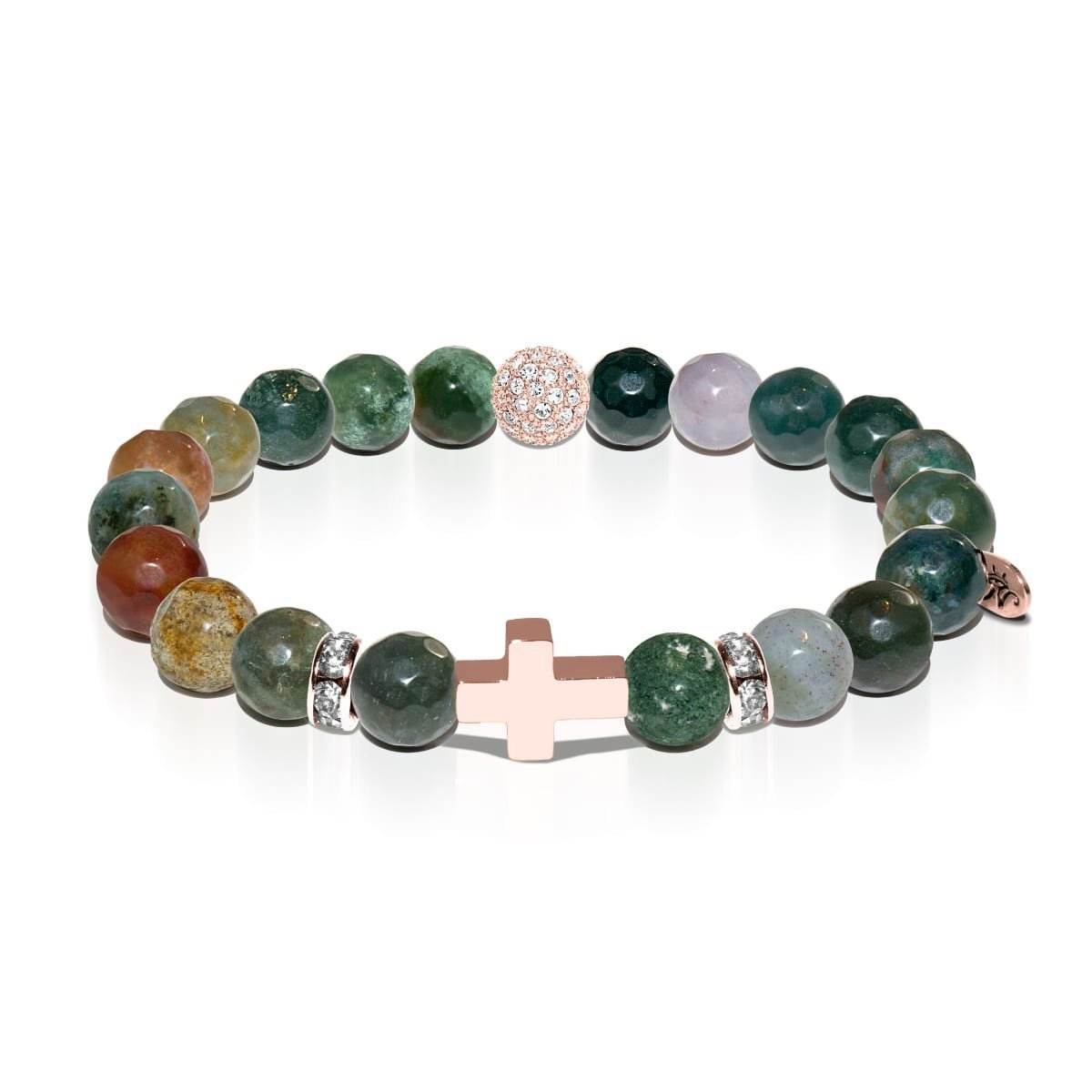 St. James | Rose Gold Cross | India Faceted Agate Bracelet