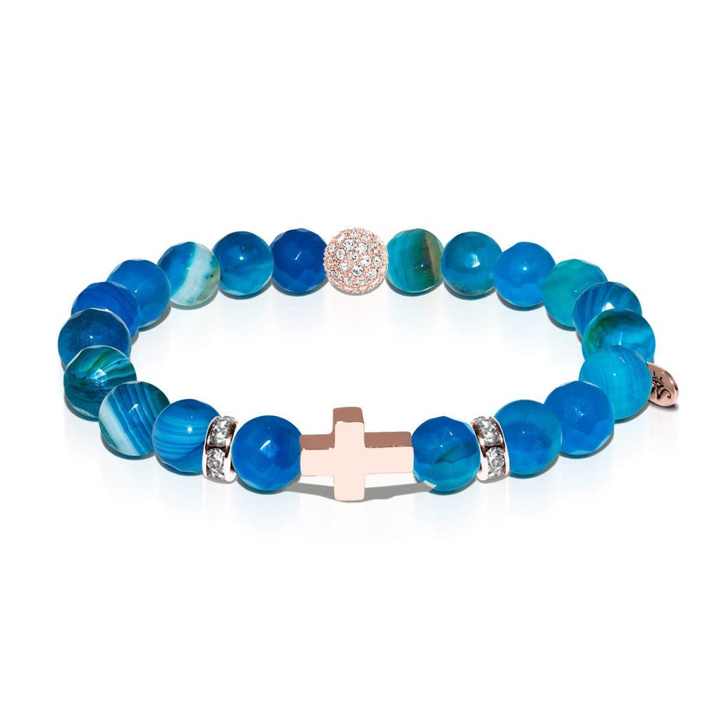 St. Lily of the Mohawks | Rose Gold Cross | Blue Striped Agate Bracelet