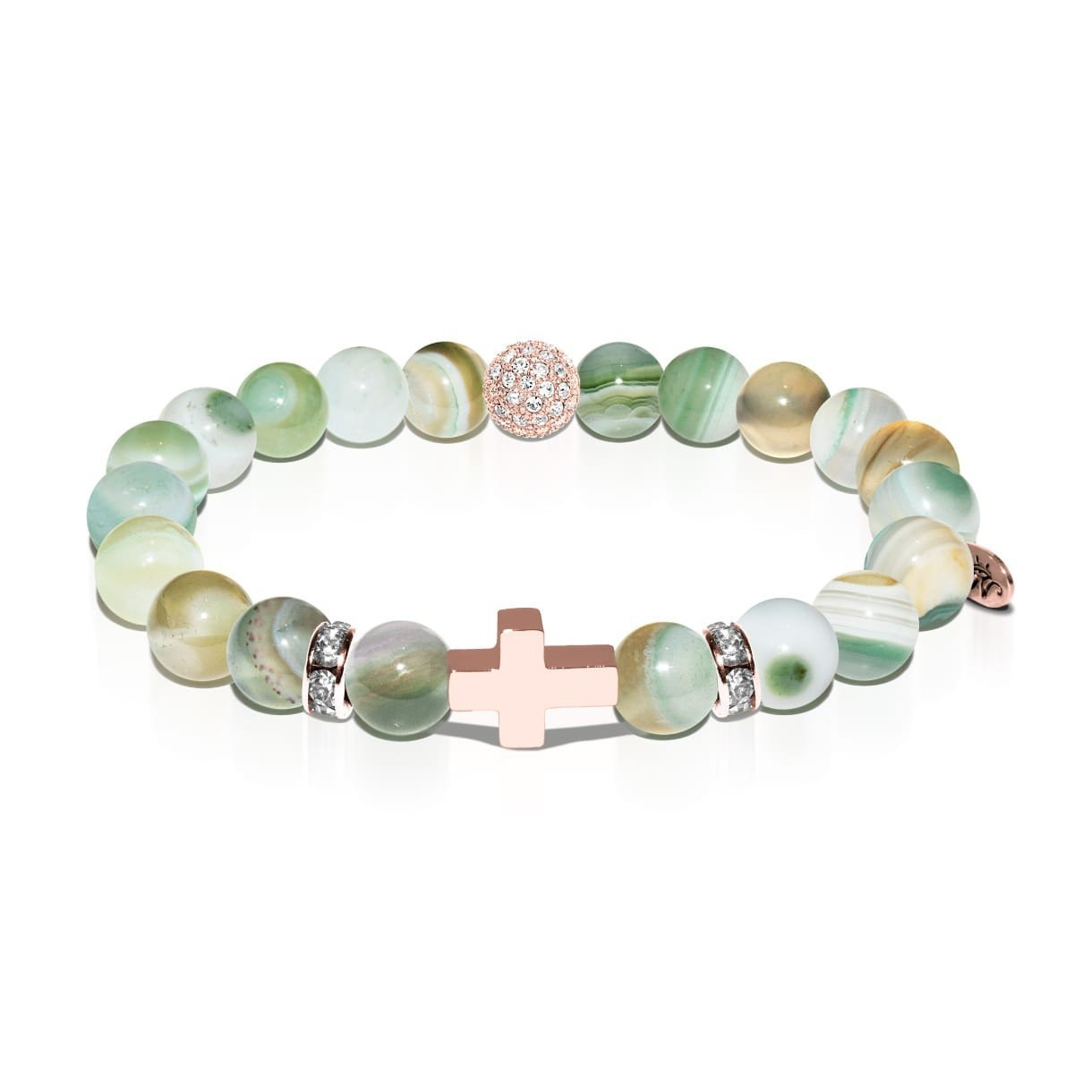 St. Rita | Rose Gold Cross | Light Green Striped Agate Bracelet