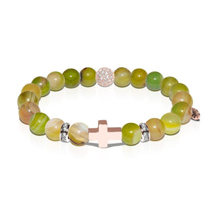 St. Elizabeth Ann Seton | Rose Gold Cross | Olive Green Striped Agate Bracelet