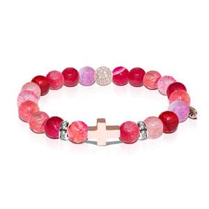 St. Genevieve | Rose Gold Cross | Pink Dragon Grain Agate Bracelet