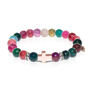 St. Raphael | Rose Gold Cross | Faceted Multi-Color Agate Bracelet