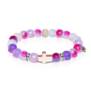 St. Michael | Rose Gold Cross | Rainbow Color Jade Bracelet