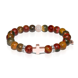 St. Veronica | Rose Gold Cross | Red Picasso Jasper Bracelet
