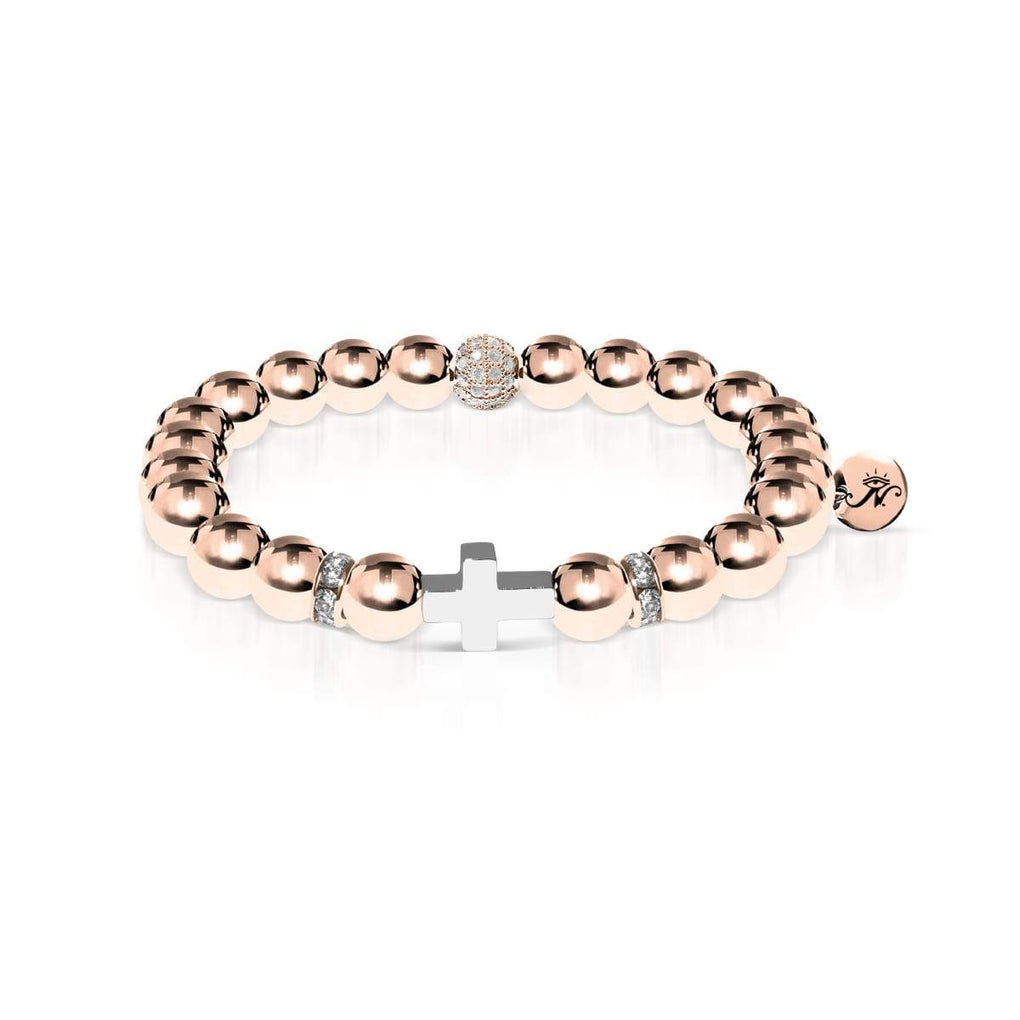 18k Rose Gold and Silver | Gilded Cross Bracelet