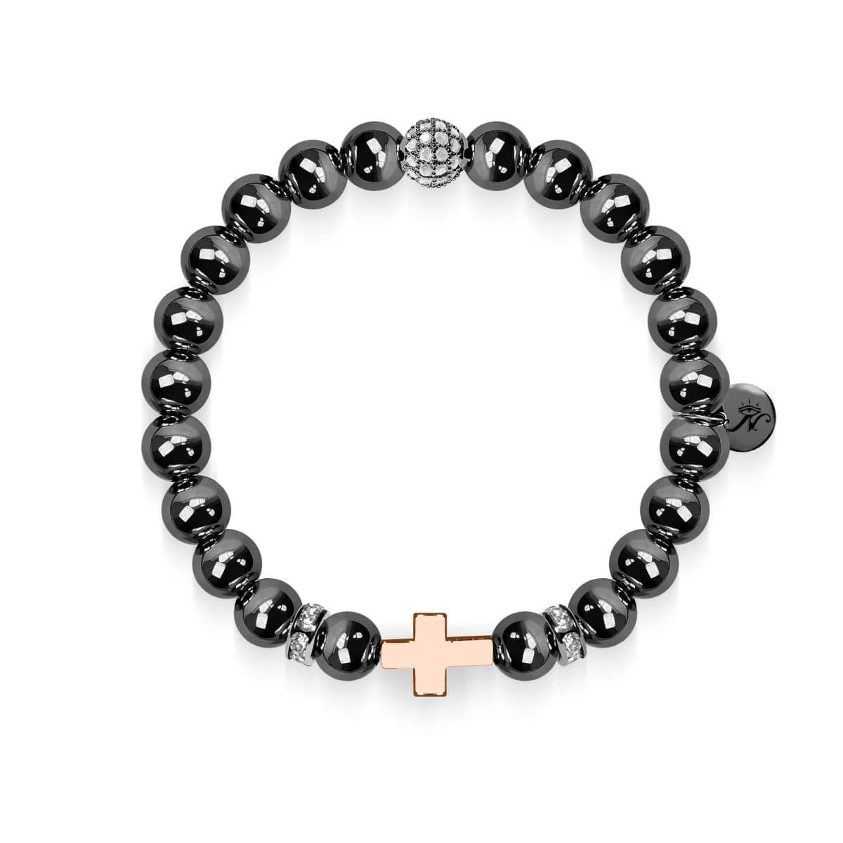 Gunmetal and 18k Rose Gold | Gilded Cross Bracelet
