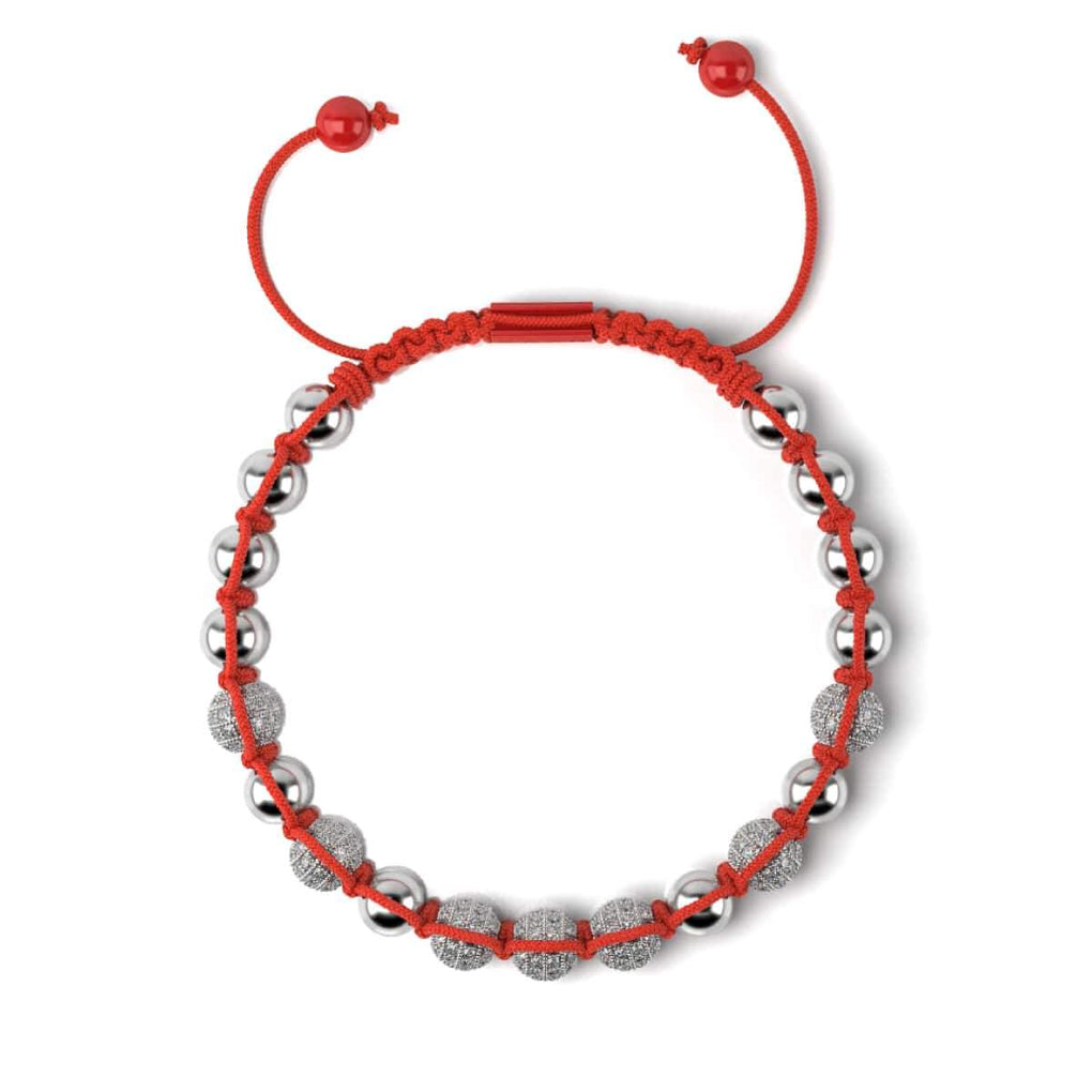 Silver and Red Enamel | Crystal Kikiballa | Macrame Fashion Santa Bracelet | Red