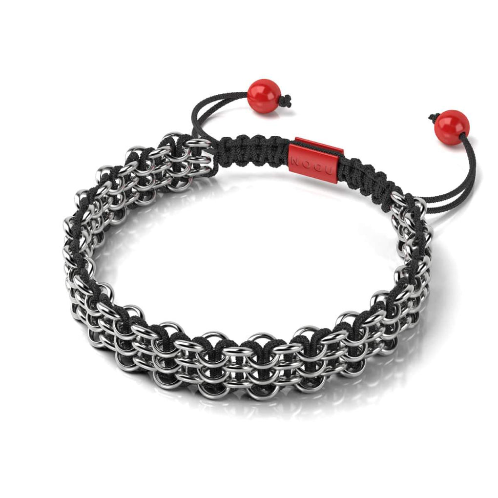 Silver and Red Enamel | Kismet Links | Macrame Fashion Santa Bracelet | Black