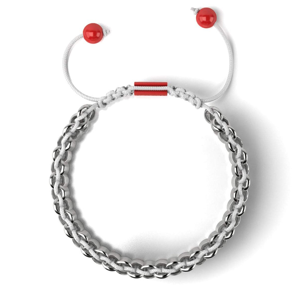 Silver and Red Enamel | Kismet Links | Macrame Fashion Santa Bracelet | White | Deluxe