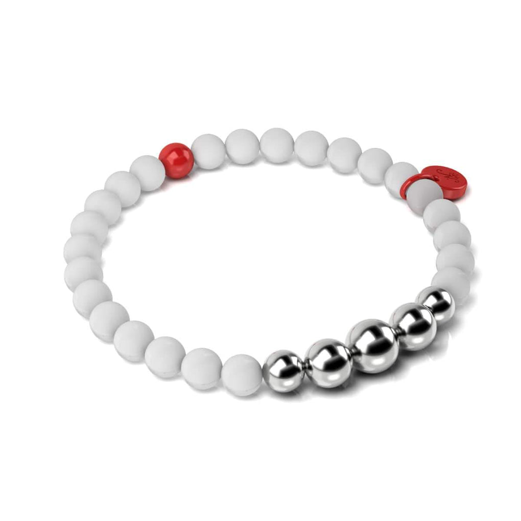 Matte White Agate | Silver and Red Enamel | Aura | Fashion Santa Charm Bracelet