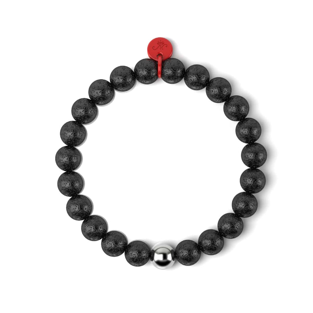 Lava Rock | Silver and Red Enamel | Fashion Santa Charm Bracelet