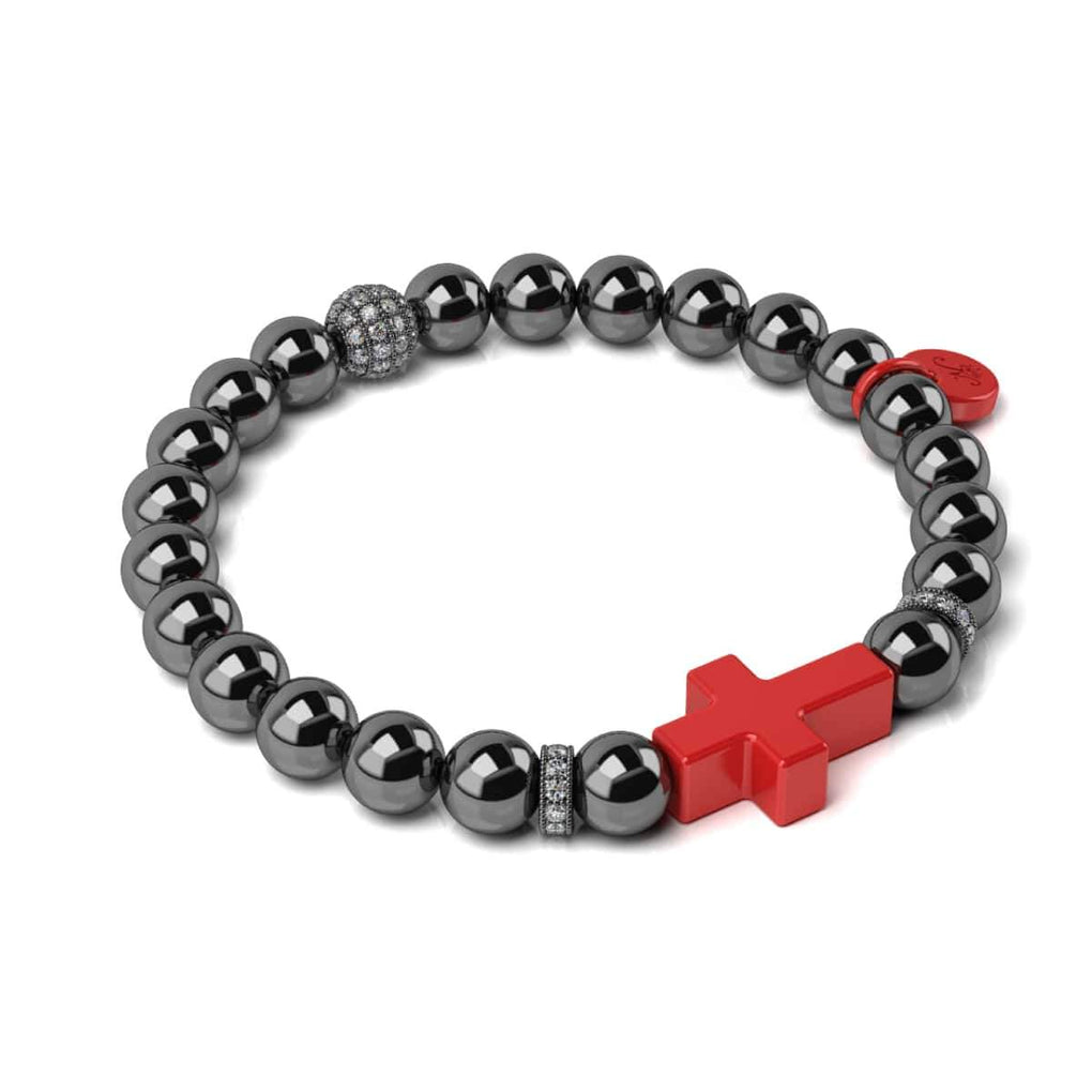 Gunmetal and Red Enamel | Fashion Santa Cross Bracelet
