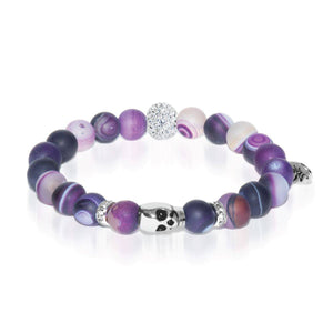 Divination | White Gold Crystal Skull | Matte Purple Striped Agate Bracelet