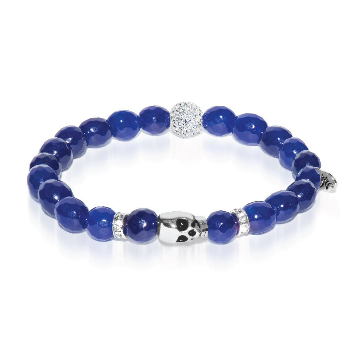 Spirit Guide | White Gold Crystal Skull Charm Navy Blue Jade Bracelet