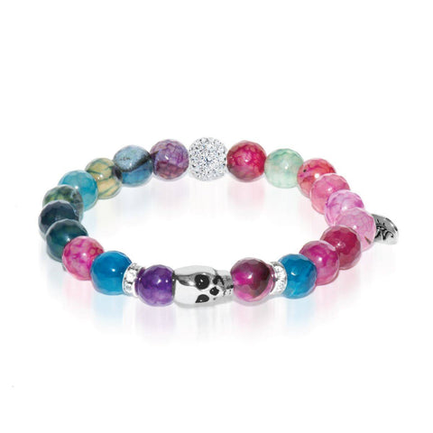 Oracle | White Gold Crystal Skull Charm Multi-Color Faceted Agate Bracelet