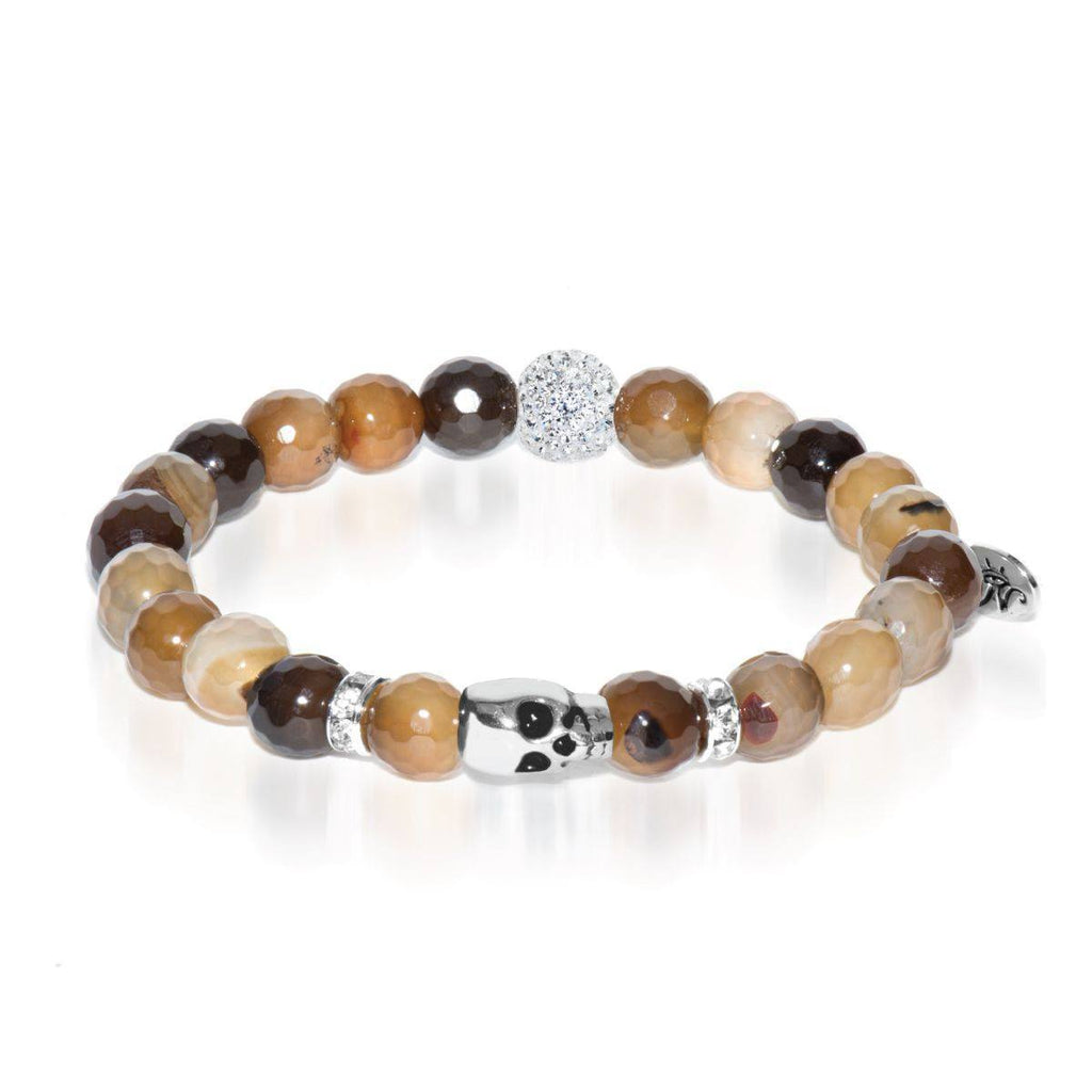 Ouija | White Gold Crystal Skull Charm Brown Striped Agate Bracelet