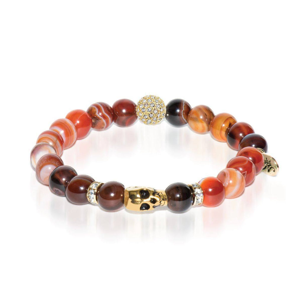 Druid | Gold Crystal Skull | Brown Striped Agate Bracelet