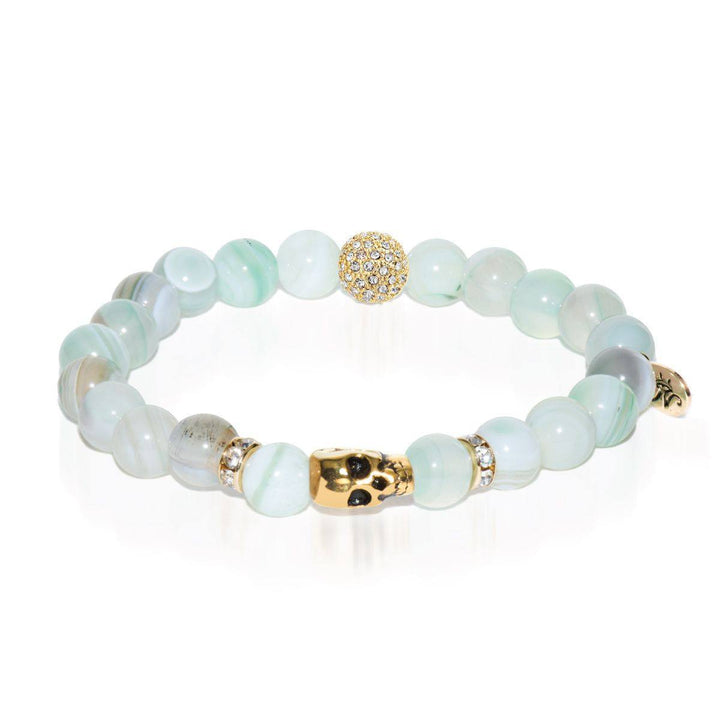 New Moon | Gold Crystal Skull Charm Light Green Striped Agate Bracelet
