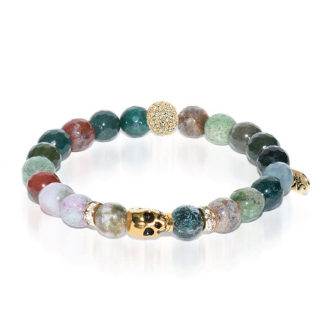 Ritual | Gold Crystal Skull Charm India Faceted Agate Bracelet