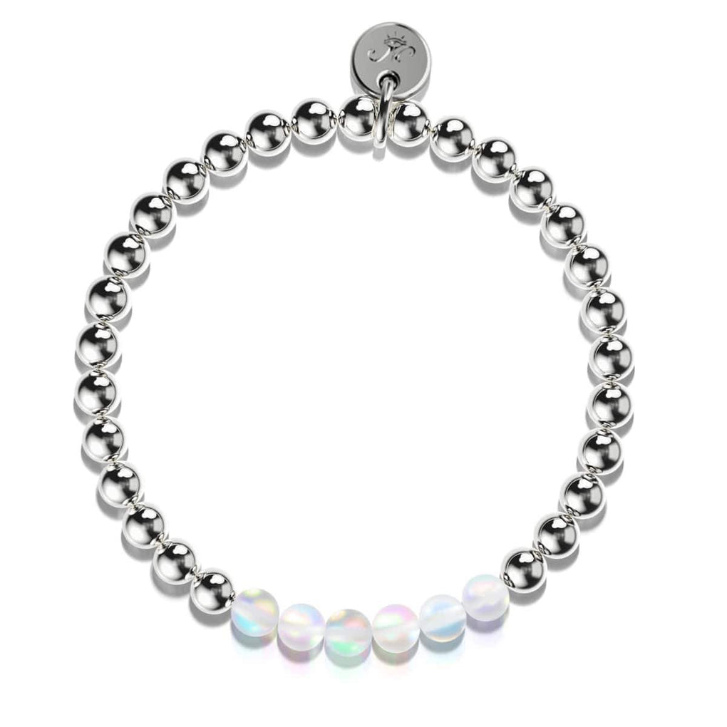 Rainbow White | Silver | Mermaid Glass Expression Bracelet