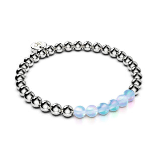 Aquamarine | Silver | Mermaid Glass Expression Bracelet
