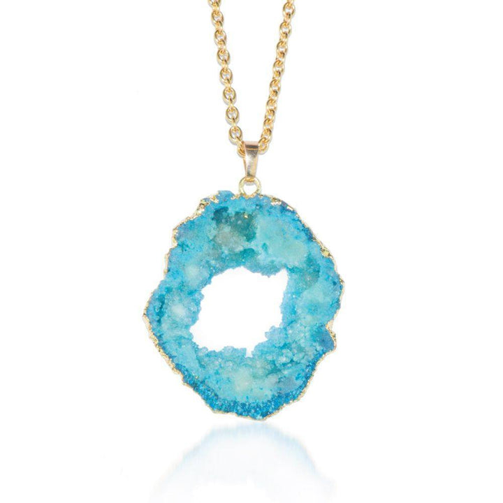 Blue Agate Crystal Druzy Gold Necklace