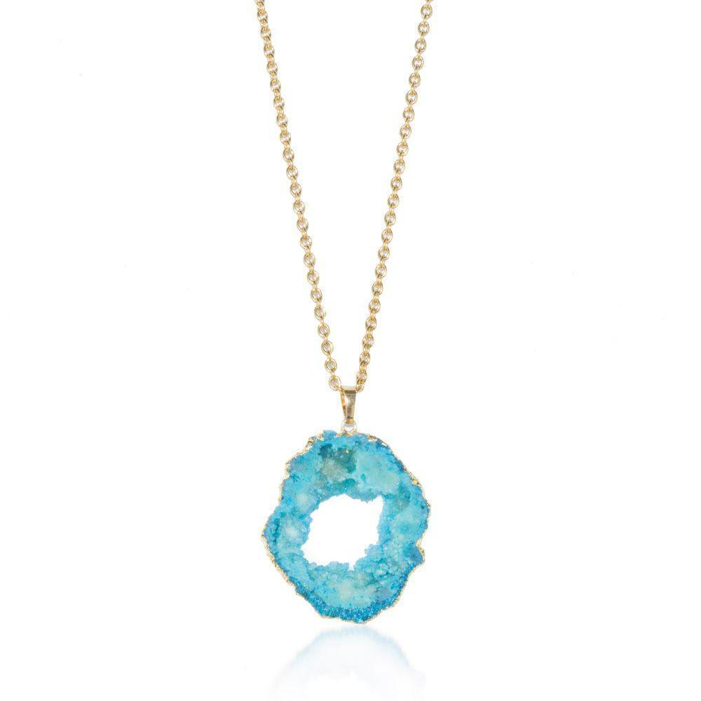 Marine Blue Crystal Druzy Necklace