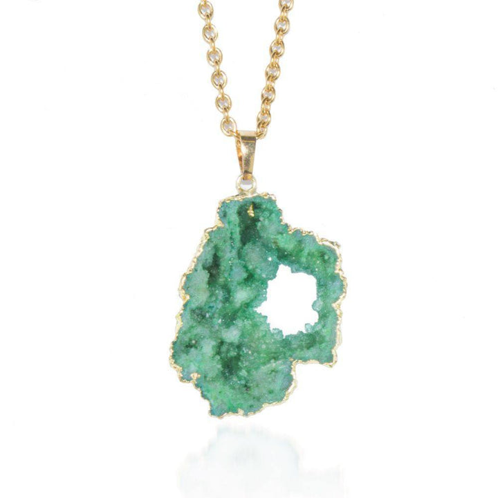 Viridian Green Crystal Druzy Necklace