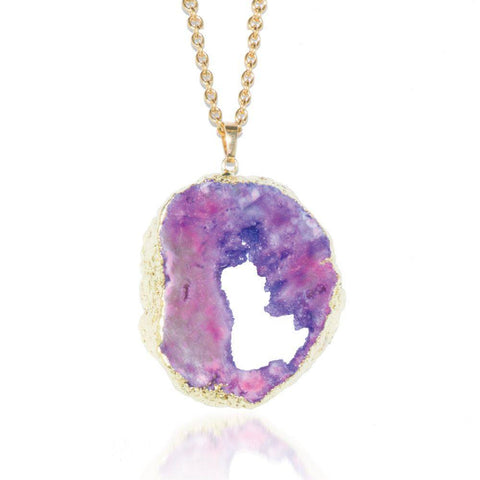 Violet Amethyst Crystal Druzy Gold Necklace