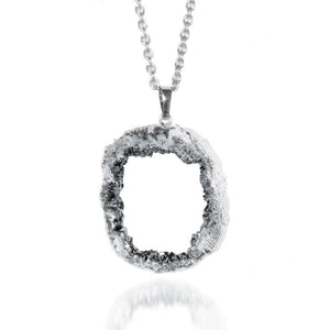 Silver Starlight Crystal Druzy Necklace