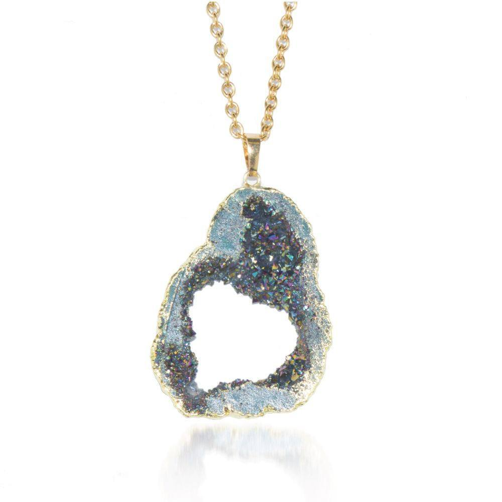Gemstone Juniper Crystal Druzy Necklace