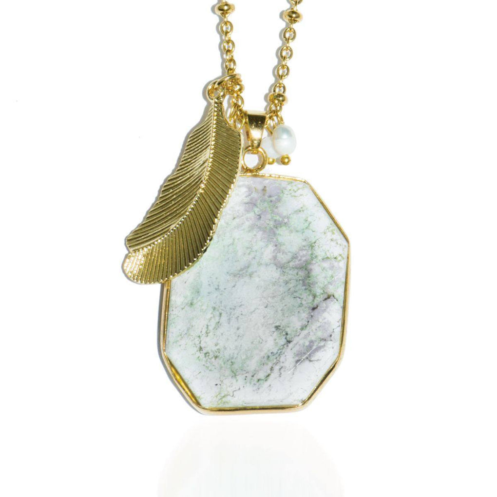 Greek Hillside | Snow Jade Stone and Gold Feather Charm Pendant Necklace Necklace