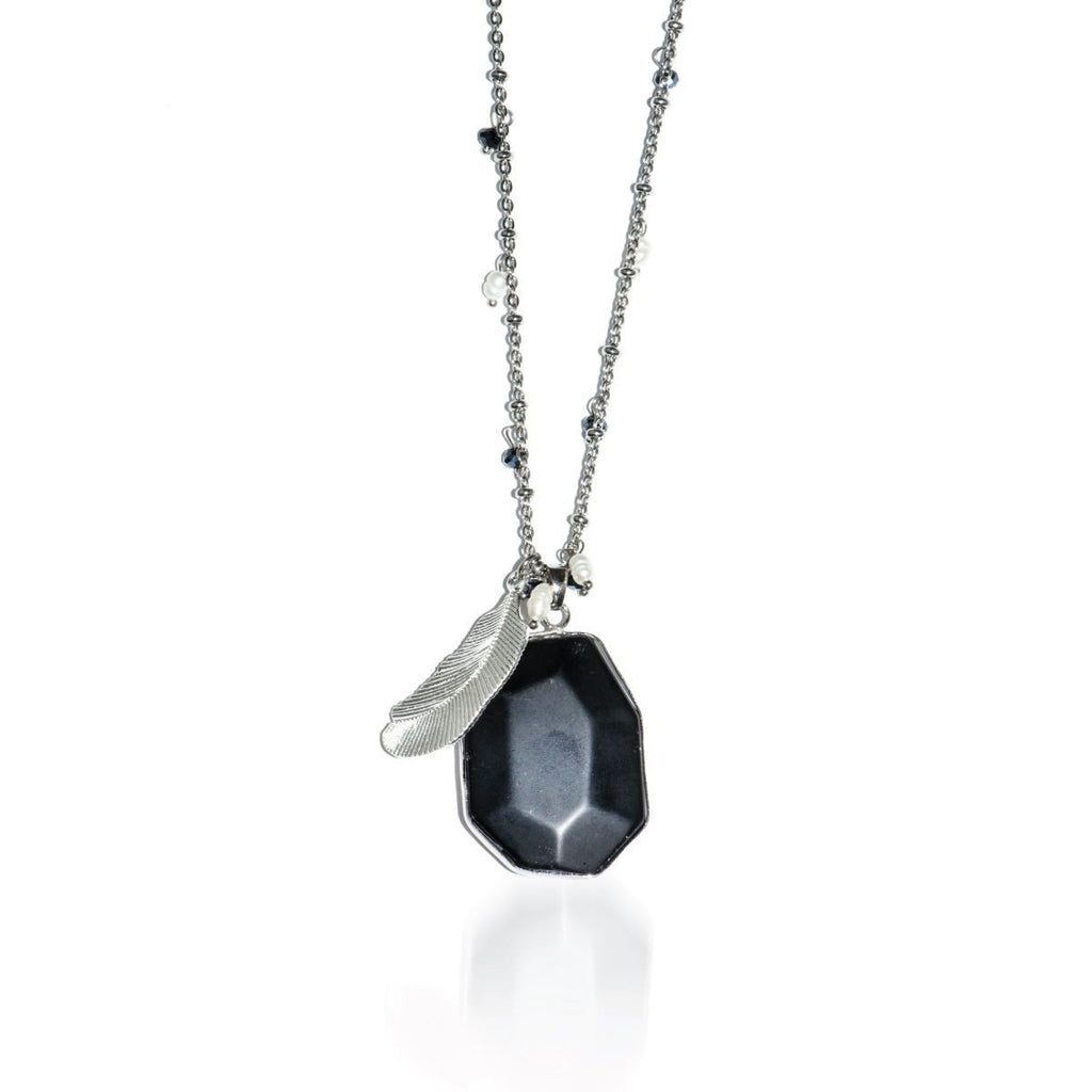Dark Horse | Matte Black Jade Stone and Gold Feather Charm Pendant Necklace Necklace
