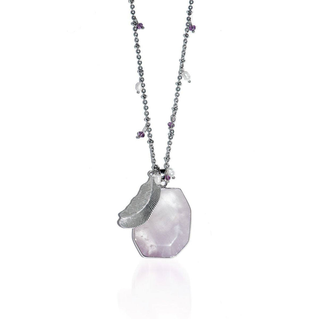 Energy Boost | Light Amethyst Stone and Gold Feather Charm Pendant Necklace Necklace