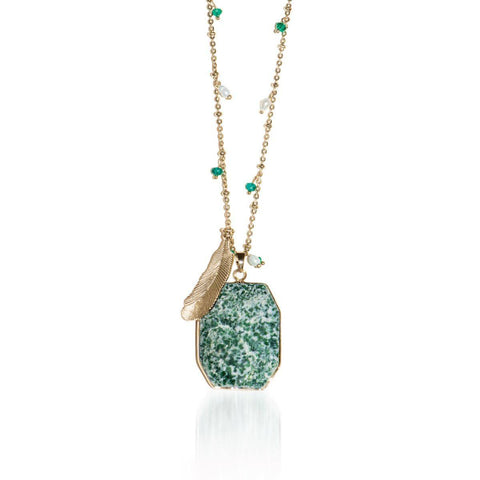 Wildest Dreams | Mossy Jade Stone and Gold Feather Charm Pendant Necklace Necklace