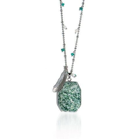 Ivy League | Mossy Jade Stone and Gold Feather Charm Pendant Necklace Necklace