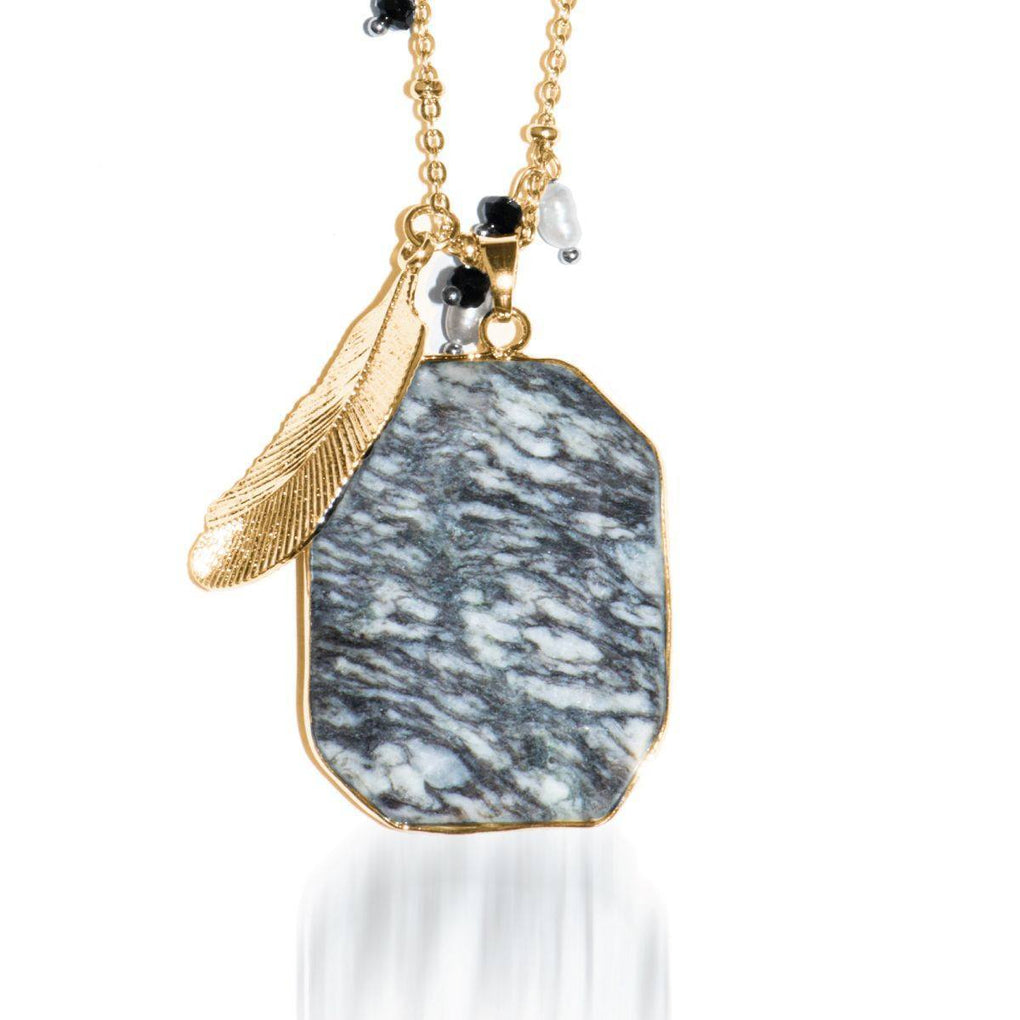 Frozen Dreamscape | Zebra Jade Stone and Gold Feather Charm Pendant Necklace Necklace
