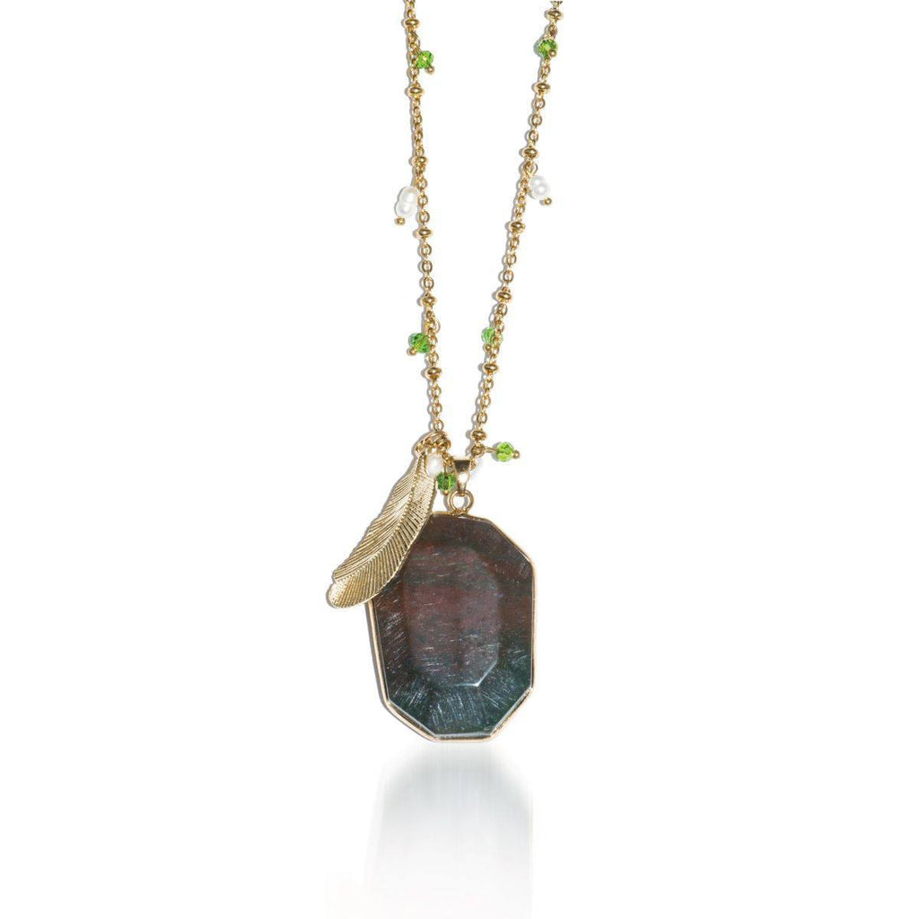 Philosopher Stone | African Agate Stone and Gold Feather Charm Pendant Necklace Necklace