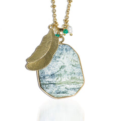 Dirty Martini | Olive Agate Stone and Gold Feather Charm Pendant Necklace Necklace