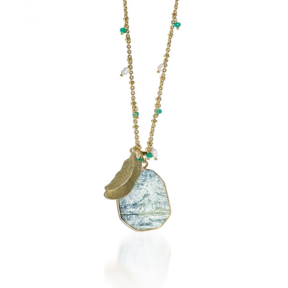 Dirty Martini | Olive Agate Pendant Necklace