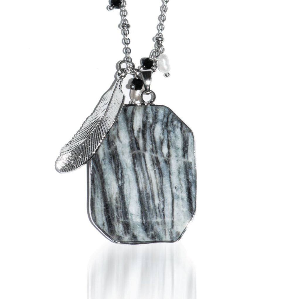 Smokey Haze | Zebra Jade Pendant Necklace