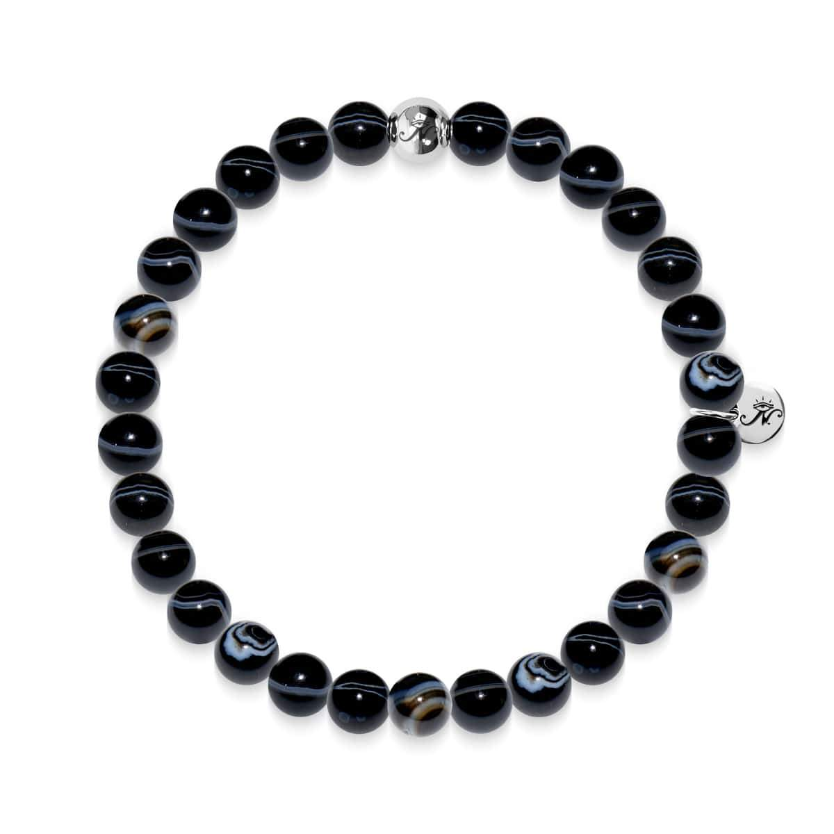 Courage | Silver Essence Black Line Agate Bracelet