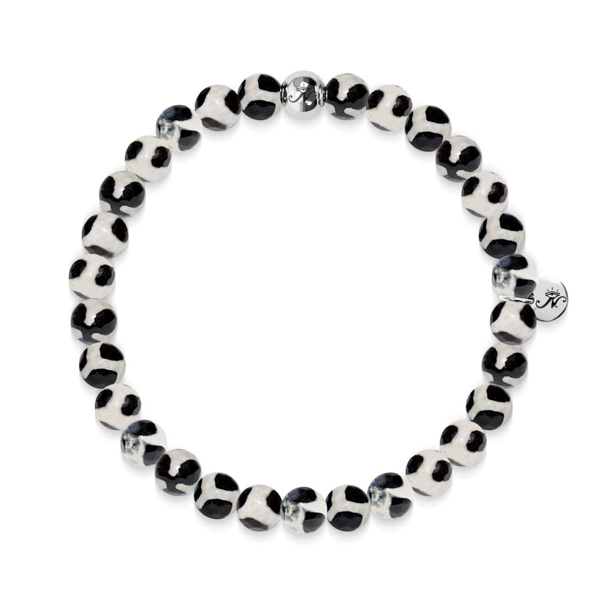 Prosperity | Silver Essence Black Spotted Faceted Agate Bracelet