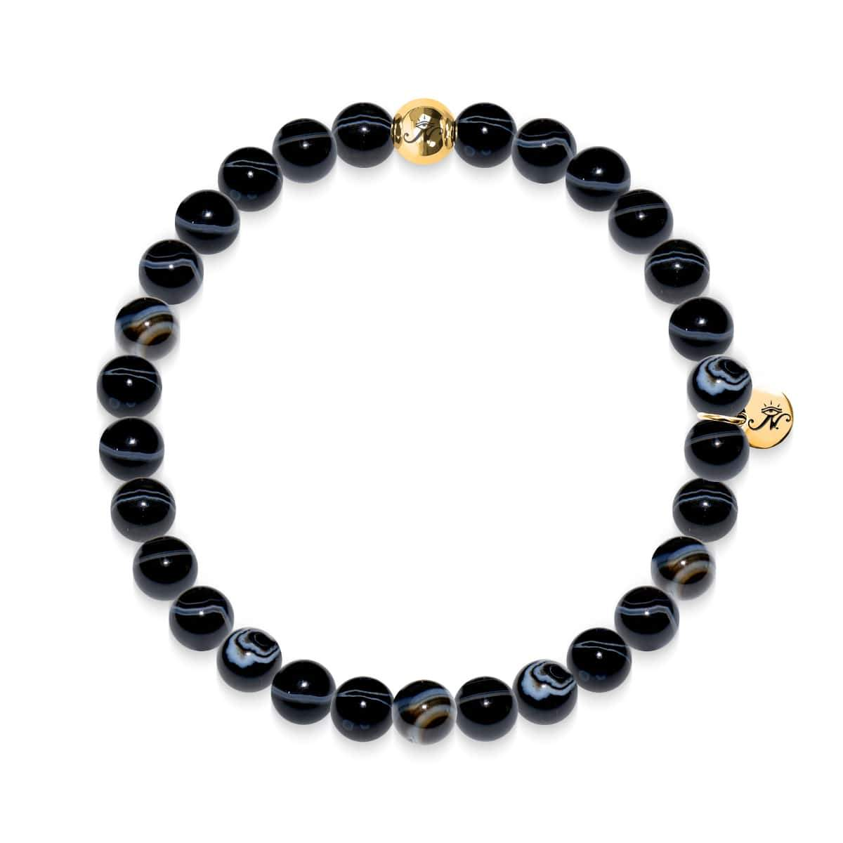 Courage | Gold Essence Black Line Agate Bracelet