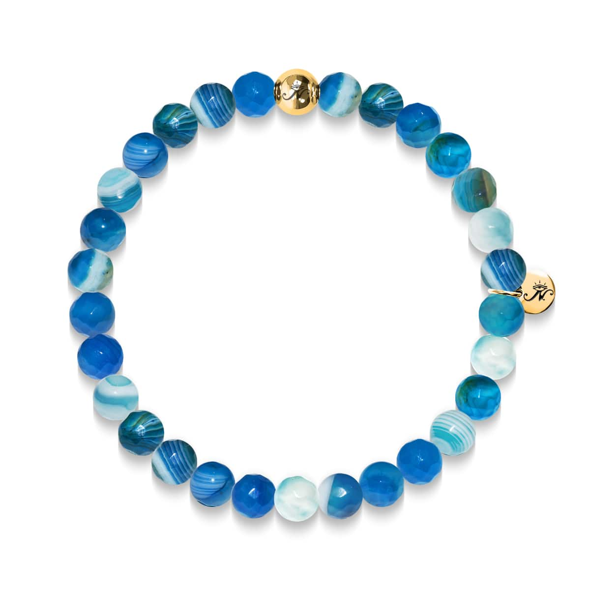 Rejuvenation | Gold Essence Blue Lines Agate Bracelet