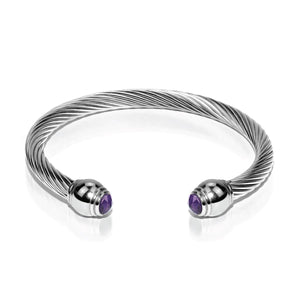 Athena | Silver | Amethyst | Goddess Bangle