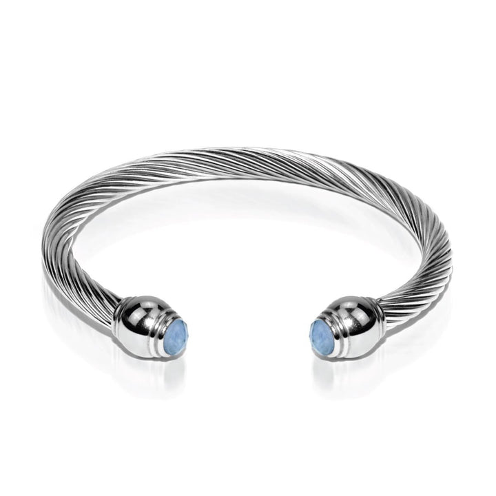 Demeter | Silver | Aquamarine | Goddess Bangle